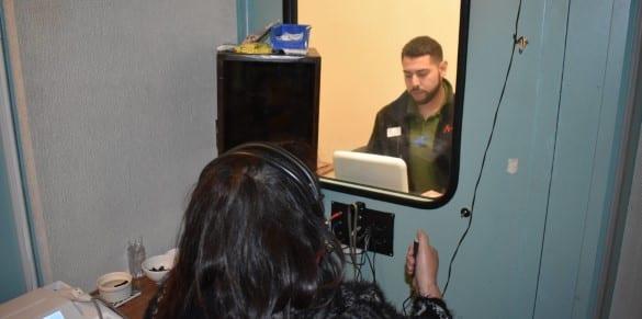 Man undergoing a hearing test